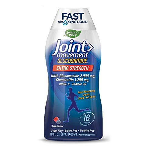 Joint Movement Glucosamine Fast Absorbing, 16 Day Supply, 16 Ounces (480 mL), Natural Berry (Packaging May Vary)