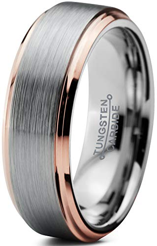 Charming Jewelers Tungsten Wedding Band Ring 6mm Men Women Comfort Fit 18k Rose Gold Grey Step Edge Brushed Polished Size 9.5