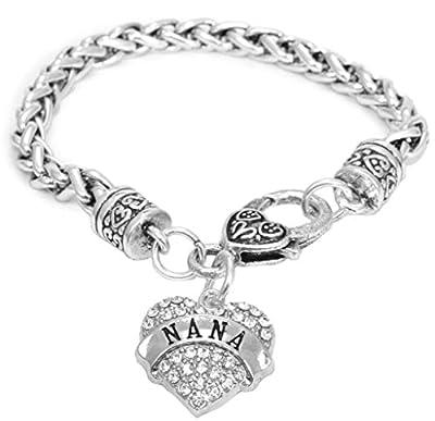 Mother's Day Gift for Nana Bracelet Engraved Gift Jewelry For Nana Crystal Adorned Heart Shaped Pendant Lobster Claw Bracelet Gift for Mom or Grandma
