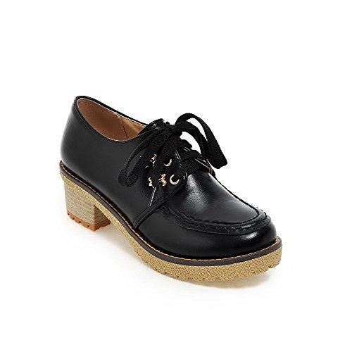 Allhqfashion Dames Zacht Materiaal Ronde Dichte Neus Kitten Hakken Veterschoen Stevige Pumps-schoenen Zwart
