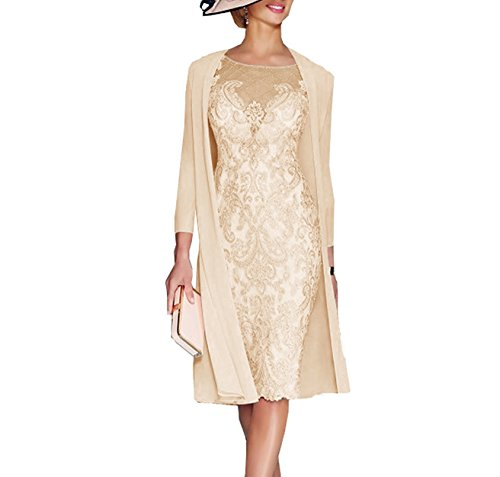 8cc3866b7db ... Mother Of The Groom Dresses Tea Length With Jacket Champagne US16.   