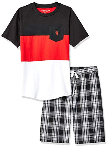 (U.S. Polo Assn. Boys' Little Sleeve T-Shirt and Pull-On Short, Red Multi Plaid, 7)