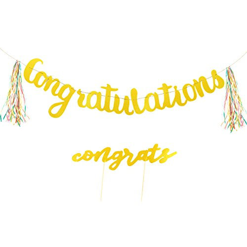 "Congratulations Banner and Cake Topper Set – Gold Letter ""Congratulations"" Party Decorations, for Weddings, Retirement Celebrations, Engagement Party Supplies, 5.3 Feet in (Neon Centerpiece Ideas)"