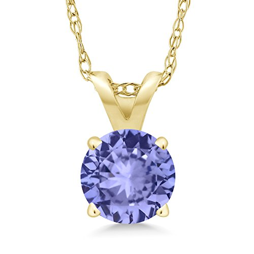 Gem Stone King 14K Yellow Gold Blue Tanzanite Pendant Necklace 0.90 Ct Round with 18 Inch Chain (Tanzanite Pendant)
