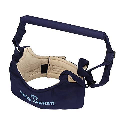 Adjustable Handheld Baby Walker Helper Toddler Safe Walking Padded Belt Harness (Navy Blue)