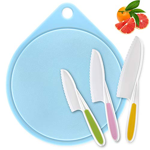 LEEFE kids Cooking Supplies Knife (3-Piece) and Cutting Board/Firm Grip, Safe Lettuce and Salad Knives, Real Kids Cooking Tool in 3 Sizes & Colors, Serrated Edges, BPA-Free (Blue)
