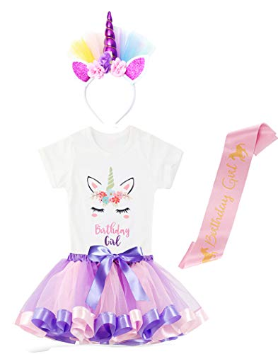 Simplecc Girl Unicorn Rainbow Outfit Dress, Tulle Tutu Skirt Outfit Sets, Unicorn T-Shirt Birthday Party Costumes (Light Purple Pink 2, 5-6 Years)