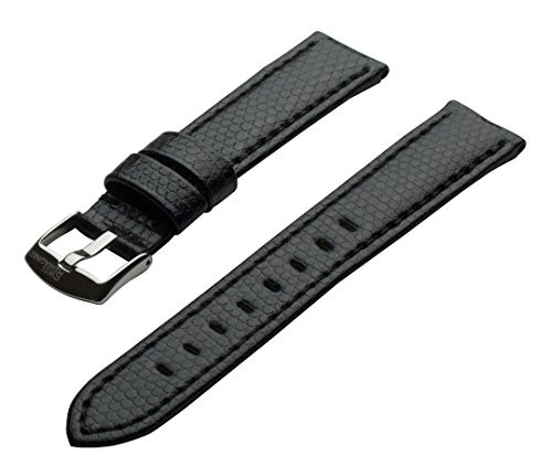 SWISS REIMAGINED Watch Band - Black Leather - Classic Polished Steel Buckle 16mm