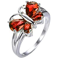 Butterfly Shape Red Sapphire Wedding Ring White Gold (9)