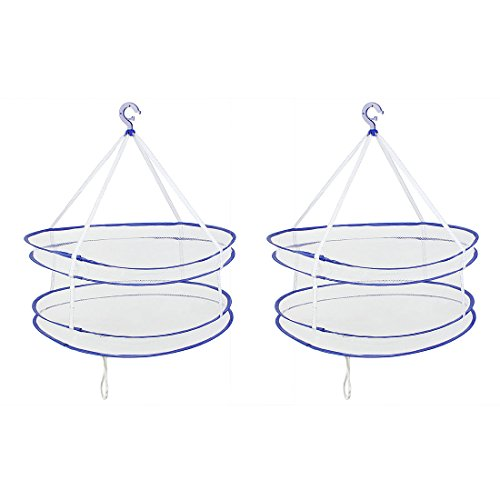 uxcell 2 Pcs Folding Double Layer Sweater Hanging Basket Clo