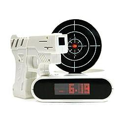 Yongyi Cool Gun Shooting Target Alarm Clock for Teens 16 Feet Recordable Wake up Clock Toys Gift (White)
