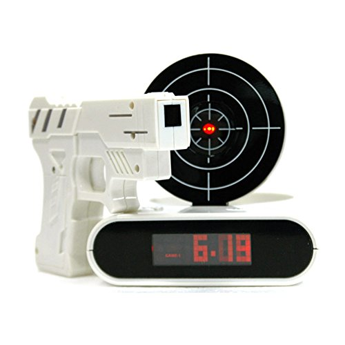 Gun And Target Recordable Alarm Clock for Teens 16 Feet Recordable Wake up Clock Toys Gift (White)