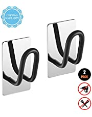 FORIOUS Bathroom Towel Hooks, 2-Pack Coat Hooks Wall Mounted with Patented Glue + 3M Self-Adhesive, Stainless Steel with Mirror Polish Brushed Finish + Matte Black