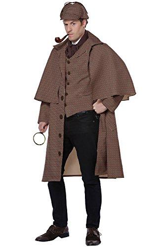 California Costumes Men's English Detective/Sherlock Holmes Adult Man Costume, Tan/Brown, Extra (Sherlock Holmes Hat Pipe)