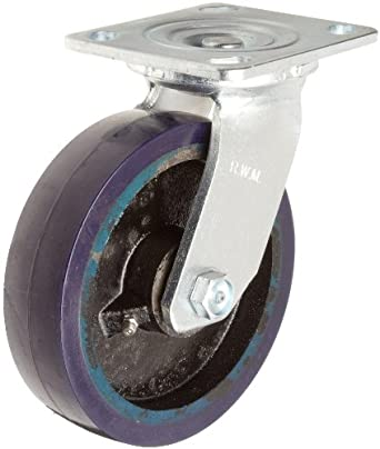 RWM Casters 40 Series Plate Caster, Swivel, Urethane on Iron Wheel