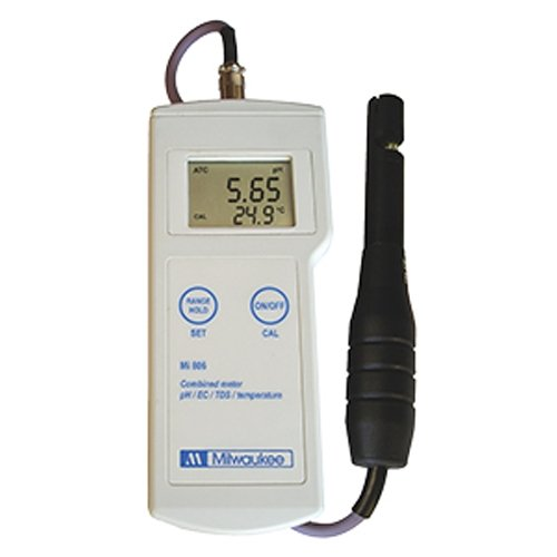 Milwaukee Instruments Mi806 Professional Portable pH/Conductivity/TDS/Temperature Meter, 0.0°C to 60.0°C Temperature Range, 0.01ppt TDS Resolution, 200 mm Length, 50 mm Height, 85 mm Wide ()
