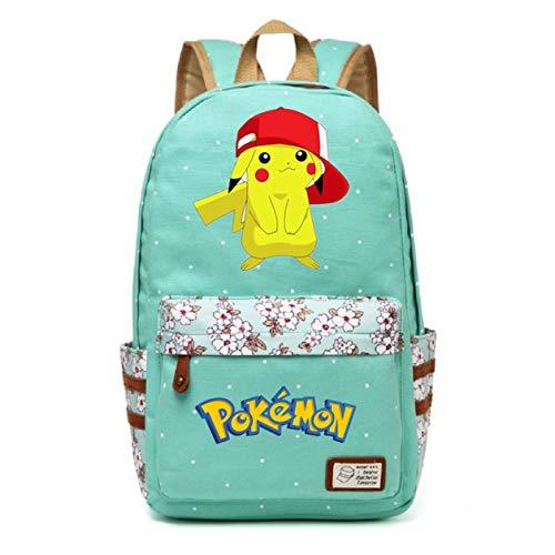 (AUGYUESS Korean Canvas Cartoon Anime School Bag Daypack Book Bag Laptop Bag Backpack for Children (Green 2))