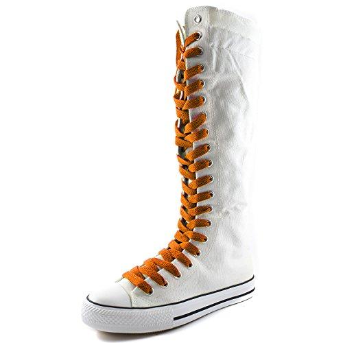 Damestas Damesschoenen Mid-kalf Lange Laarzen Casual Sneaker Punk Flat, Witte Laarzen, Zoete Oranje Kant