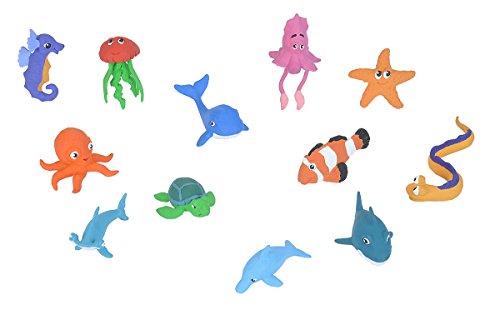 Wild Republic Ocean Babies Figurines Tube, Octopus, Shark, Dolphin, Sea Turtle, Sea Horse, Hammerhead, Clown Fish, EEL, Whale, Star Fish, Jelly -