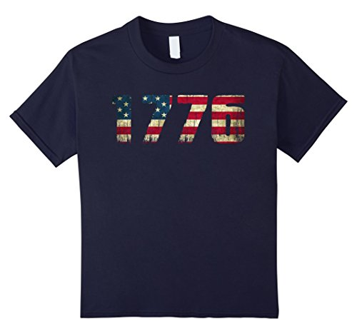 unisex-child America Flag 4th of July 1776 T-shirt 8 Navy