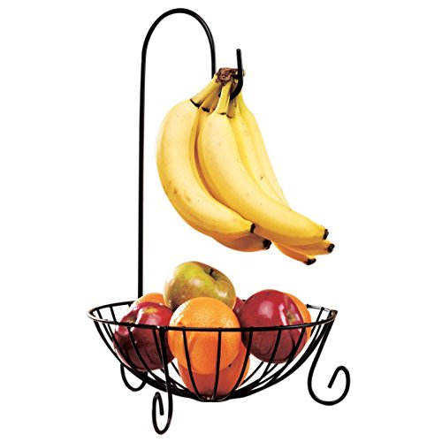 Thegood88 Novelty Kitchen Metal Fruit Basket with Detachable Banana Hanger Holder Hook
