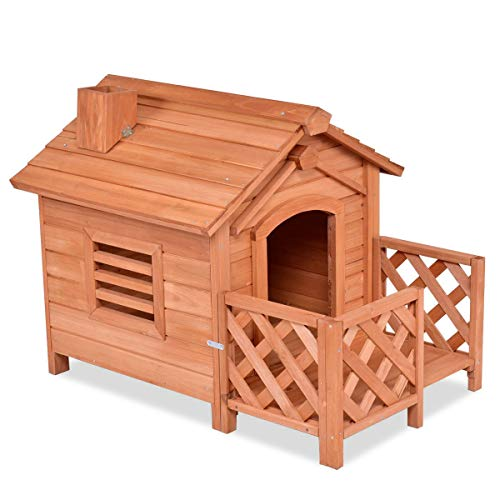 Dayanaprincess Large Wooden Pet Dog House Crates with Porch Window Natural Color Spacious Ample Space Area House Habitat Outdoor Durable Sleeping Resting Playing