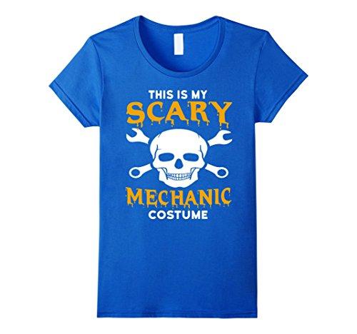 Auto Mechanic Halloween Costume (Womens Scary Mechanic Halloween Costume T-Shirt XL Royal Blue)