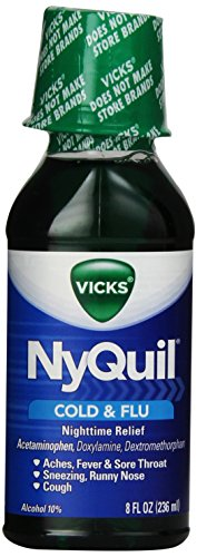 Vicks Nyquil Cough Cold and Flu Relief Liquid, Original Flavor, 8 Ounce