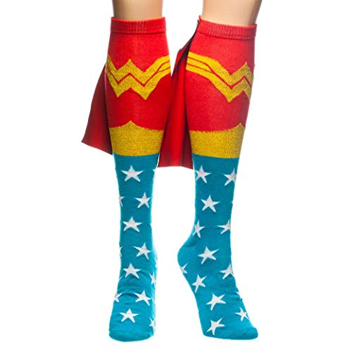 Wonder Woman Knee High Cape Sock, Red, One -