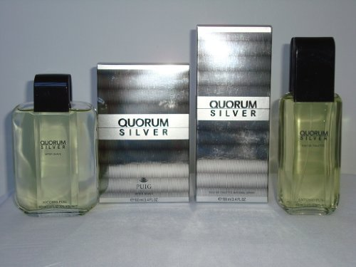 (SET 2 PCS-QUORUM SILVER BY ANTONIO PUIG-FOR MEN-EDT 3.4 OZ AND AFTER SHAVE 3.4)