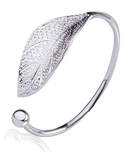 Leaf Cuff Bracelet (EVELICAL Fashion Trendy Open Leaf Cuff Bracelet Bangles for Women Simple Olive Bracelet Adjustable Birthday Gift)