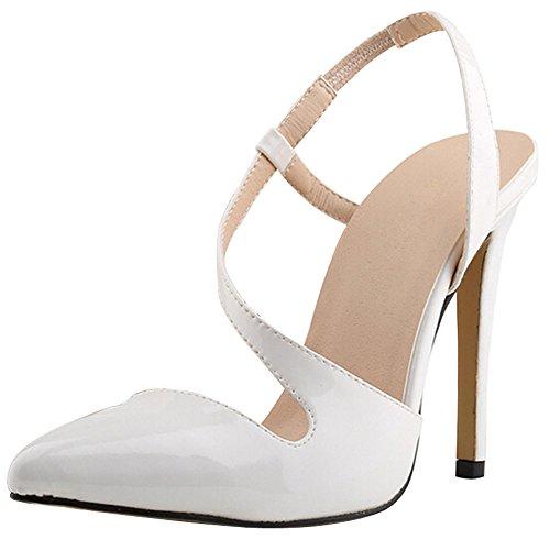 fereshte Women's Shoe High Heeled Snake Skin Dress Pump Sandals Candy Color QP-White