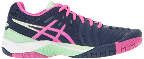 Asics Womens Gel-resolution 7 Scarpe Da Tennis Indaco Blu / Rosa Glow / Paradise Green