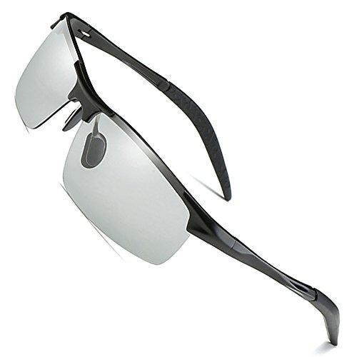 MOTELAN Men's Photochromic Polarized UV400 Sunglasses for Outdoor Fishing Golf Beach Baseball Sports Black