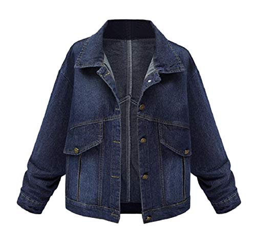 Single Breasted Collar OL Women Plus Blue Long Size Sleeve RkBaoye Jackets Turn Dark Down Denim tUIxq