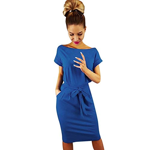 (Zainafacai Women Dresses, Casual O-Neck Short Sleeve Solid Evening Party Bodycon Sheath Belted Dress with Pockets Mini Dress Blue)