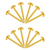 Gizhome 12 Pack Outdoor Tent Stakes, Screw Spiral Tent Peg Nail Ground Anchor Pegs Heavy Duty Screw Style - 20 cm/7.9 inch (Yellow)