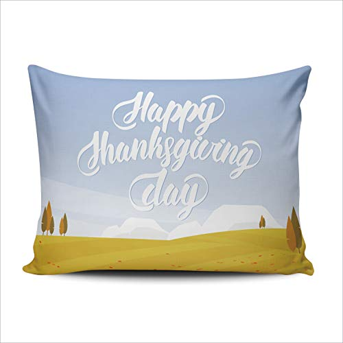 WULIHUA Pillow Covers Autumn Landscape Happy Thanksgiving Day Sofa Durable Modern Pillow Case Decorative Custom Throw Pillow Cases one Side Printed Boudoir 12x16 Inches