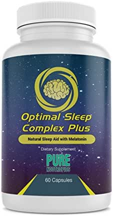 Optimal Sleep Complex Plus – Natural Sleep Aid, Fall Asleep Faster, More Restful – Sleeping Pill w Melatonin, Magnesium, Lemon Balm, Valerian Root, L-Theanine and More – 60 Count