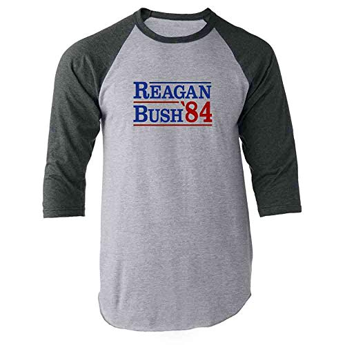 Ronald Reagan Baseball - Pop Threads Ronald Reagan George Bush 1984 Campaign Gray 2XL Raglan Baseball Tee Shirt