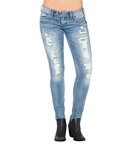 Silver Jeans Women's Tuesday Low Rise Skinny Jean, Indigo, 29x31 (Super Skinny Rip Jeans)