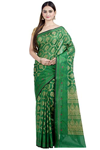 Chandrakala Women's Green Art Silk Banarasi Saree,Free Size(1309GRE)
