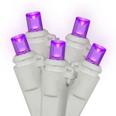 Set of 60 Purple LED Wide Angle Christmas Lights - White Wire