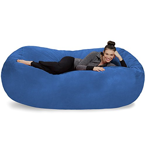 Sofa Sack - Plush Bean Bag Sofas with Super Soft Microsuede Cover - XL Memory Foam Stuffed Lounger Chairs for Kids, Adults, Couples - Jumbo Bean Bag Chair Furniture - Royal Blue 7.5' ()