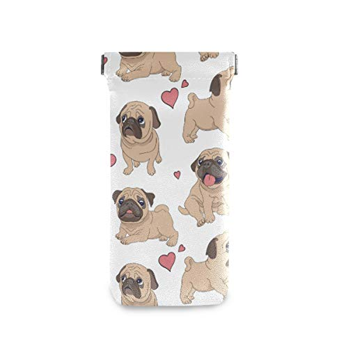 ZZAEO Funny Dog Cartoon Pugs Puppies Sunglasses Pouch Squeeze Top Portable Microfiber Leather Eyeglass Case Accessories