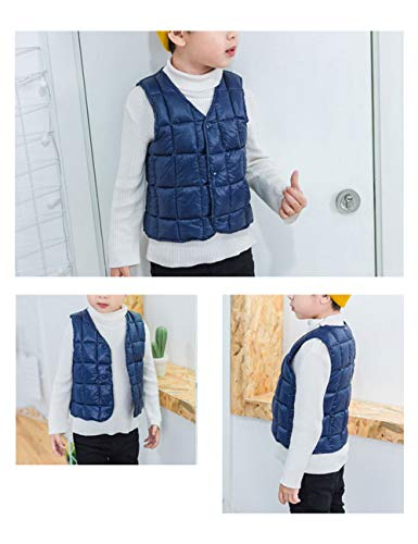 Cotton Sleeveless Casual Outwear Vest Gilet Navy BESBOMIG fit Girls Lightweight Waistcoat Boys Warm Slim Child for Down Jacket aw8avqF