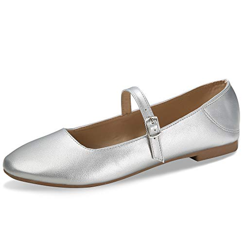 (CINAK Flats Mary Jane Shoes Women's Casual Comfortable Walking Buckle Ankle Strap Fahion Slip On (8-8.5 B(M) US/ CN40 / 9.84'', Silver))