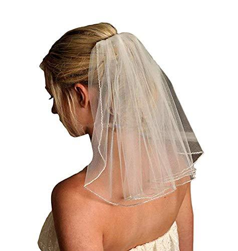 Veilbridal Short Cute First Communion Veils Single Tier Bridal Wedding Veils With Comb Ivory