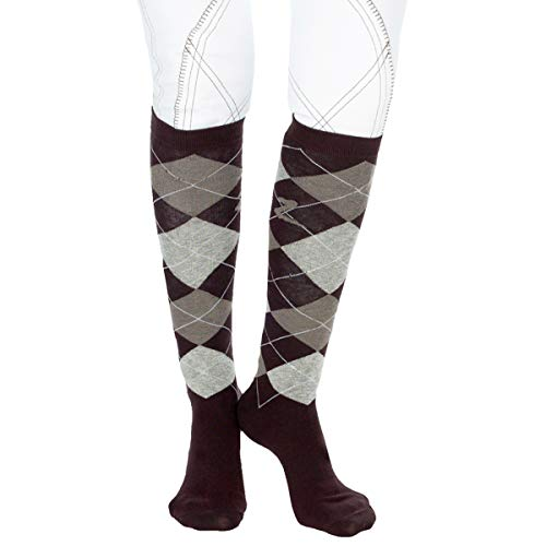 Horze-Holly-Argyle-Socks-Size8-12-10-ColorDark-Brown