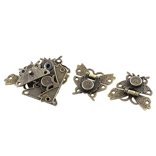 Professional 52mmx45mm Gift Box Butterfly Shape Hasp Lock Latches Bronze Tone 5pcs, Bronze Box Latch - Antique Vintage Hasps, Jewelry Box Lock Set, Butterfly Cabinet Hardware from Tosia Asaika
